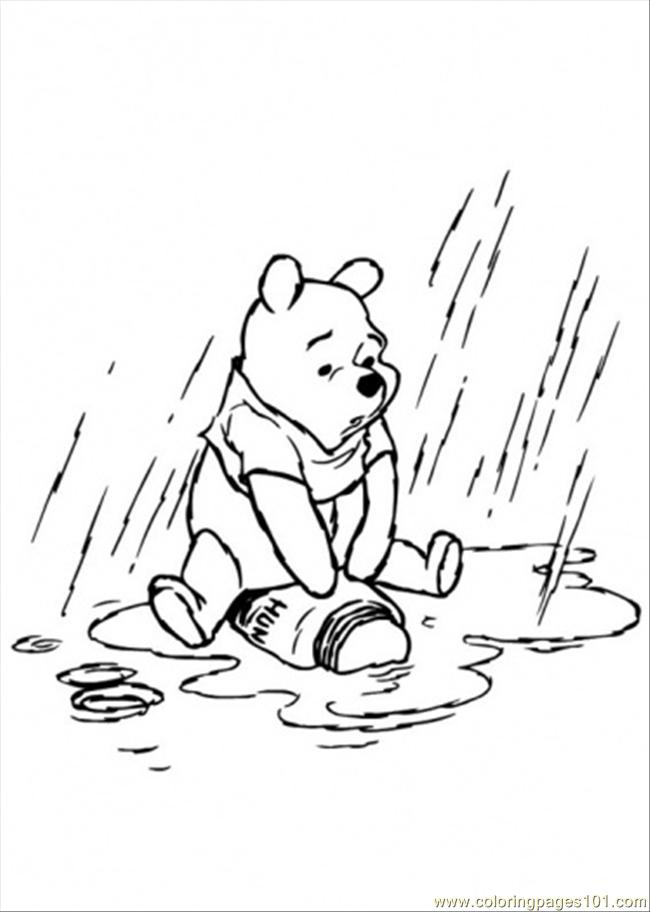 650x912 Pooh In The Rainy Day Coloring Page