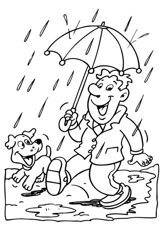 530x750 Coloring Page Rain