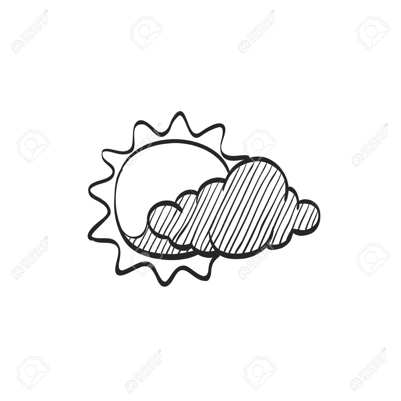 1300x1300 Weather Forecast Partly Cloudy Icon In Doodle Sketch Lines
