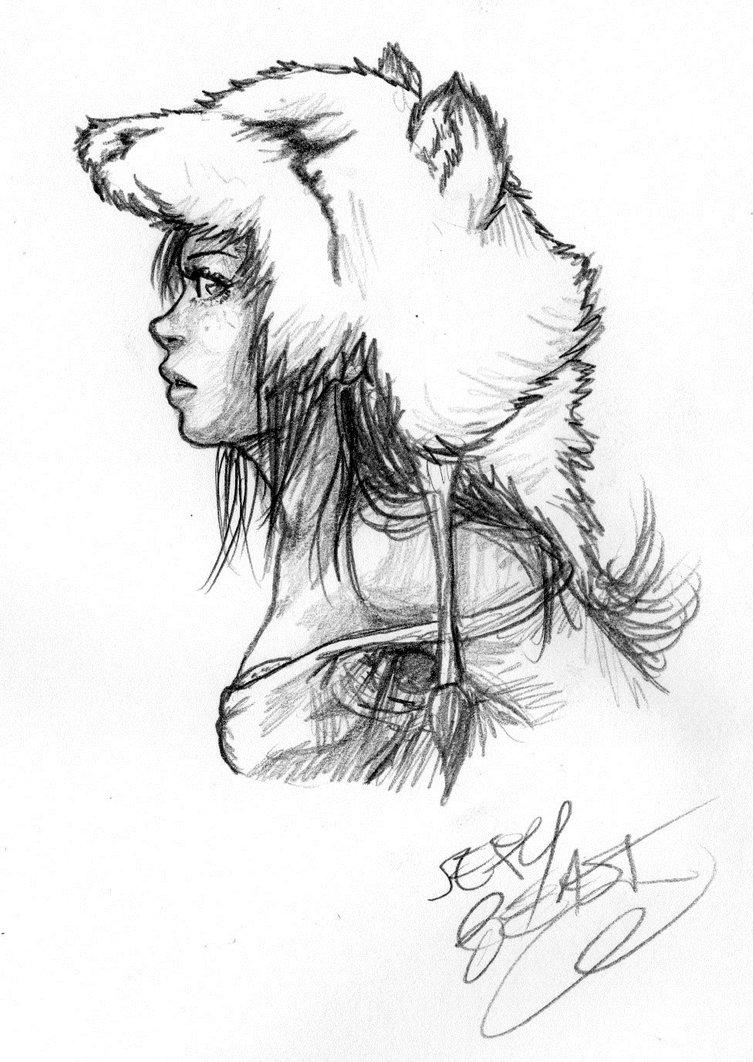 753x1062 Polar Bear Girl Second Sketch By Cloudy 0w0