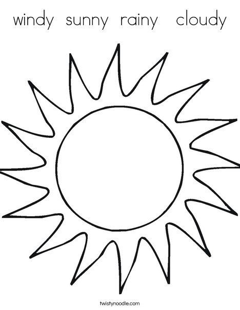 468x605 Windy Sunny Rainy Cloudy Coloring Page