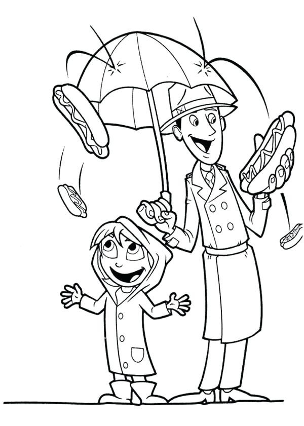 600x841 Cloudy With A Chance Of Meatballs Coloring Pages Hot Dog Rain