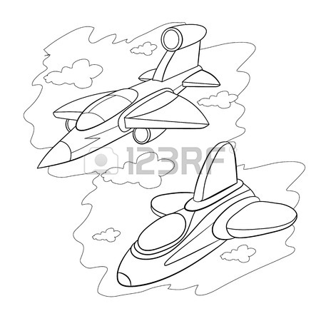 450x450 Coloring Book. Two Cartoon Stealth Fighter Flying In The Cloudy