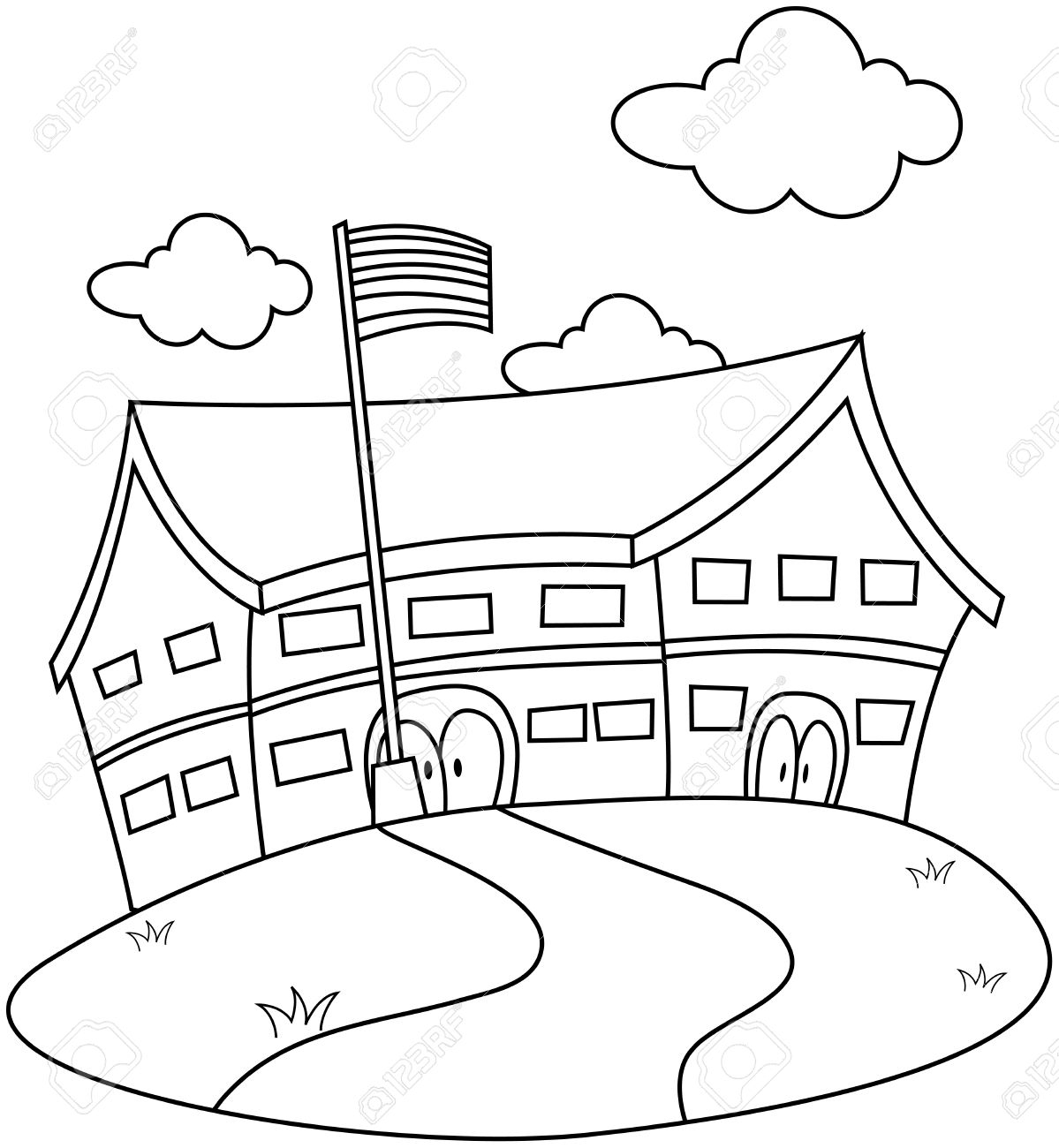 1199x1300 Drawing Of A School Line Art Illustration Of A School Complete