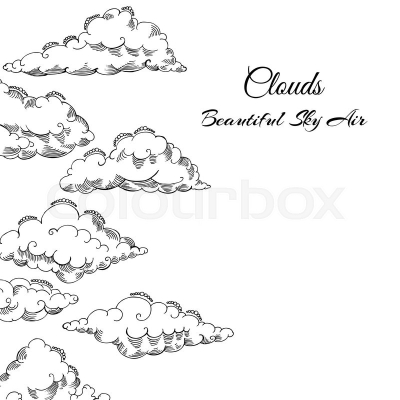 800x800 Background With Clouds Sketches. Hand Drawn Sky Vector