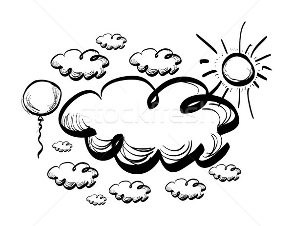 600x463 Hand Drawing Sky With Clouds Vector Illustration Maxim Pavlov