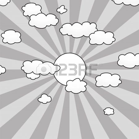 450x450 Cartoon With Clouds, Sun Rays And Flying Birds In The Sky Royalty