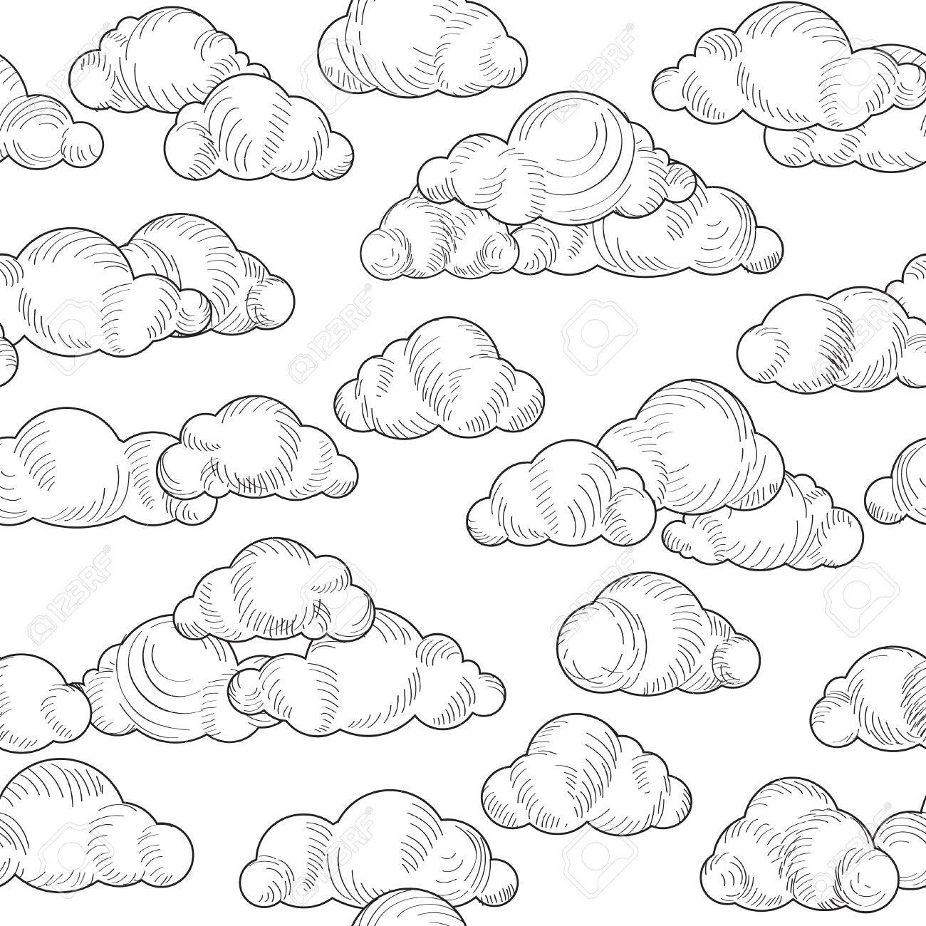 1300x1300 Cloud Doodle Black And White Pattern. Cloudy Sky Seamless