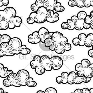 325x325 Cloud Pattern. Cloudy Sky Seamless Background Gl Stock Images