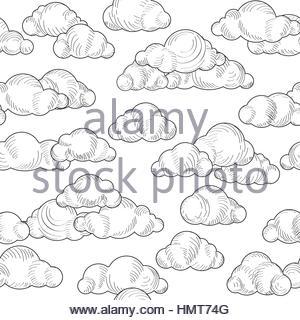 300x320 Cloud Doodle Line Pattern. Cloudy Sky Seamless Ornamental