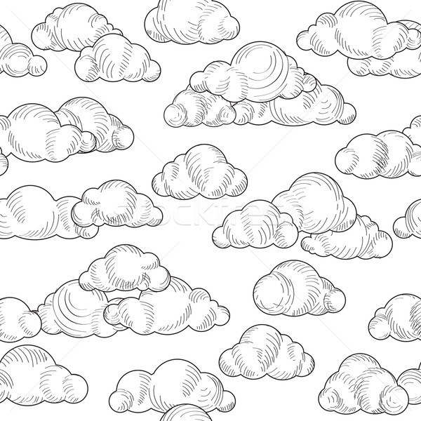 600x600 Cloud Pattern. Cloudy Sky Seamless Background Vector Illustration