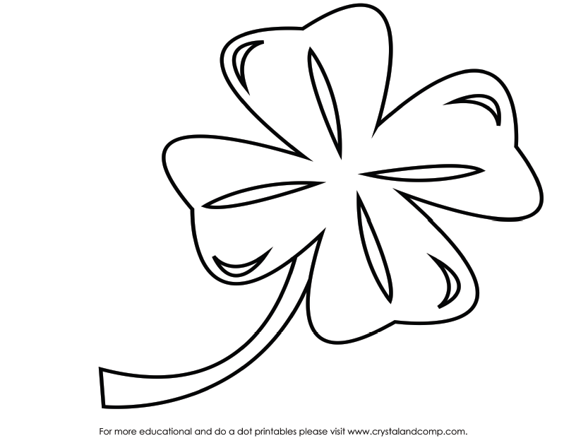 It is a photo of Four Leaf Clover Printable Template within flower