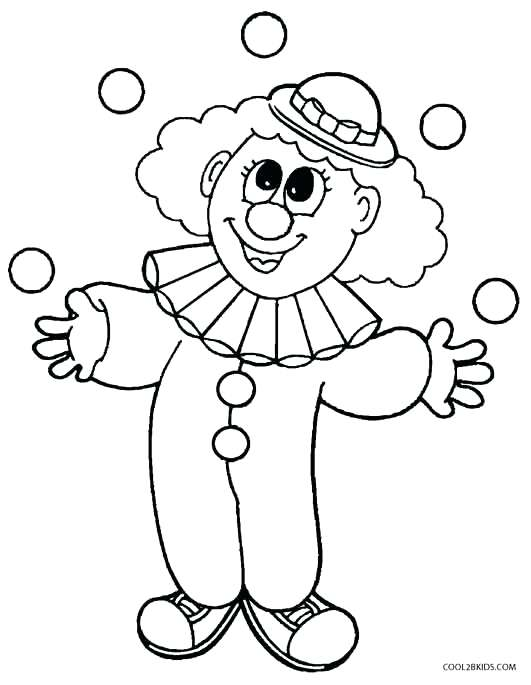 531x685 Coloring Pages Clown Clown Coloring Pages For Preschoolers Free