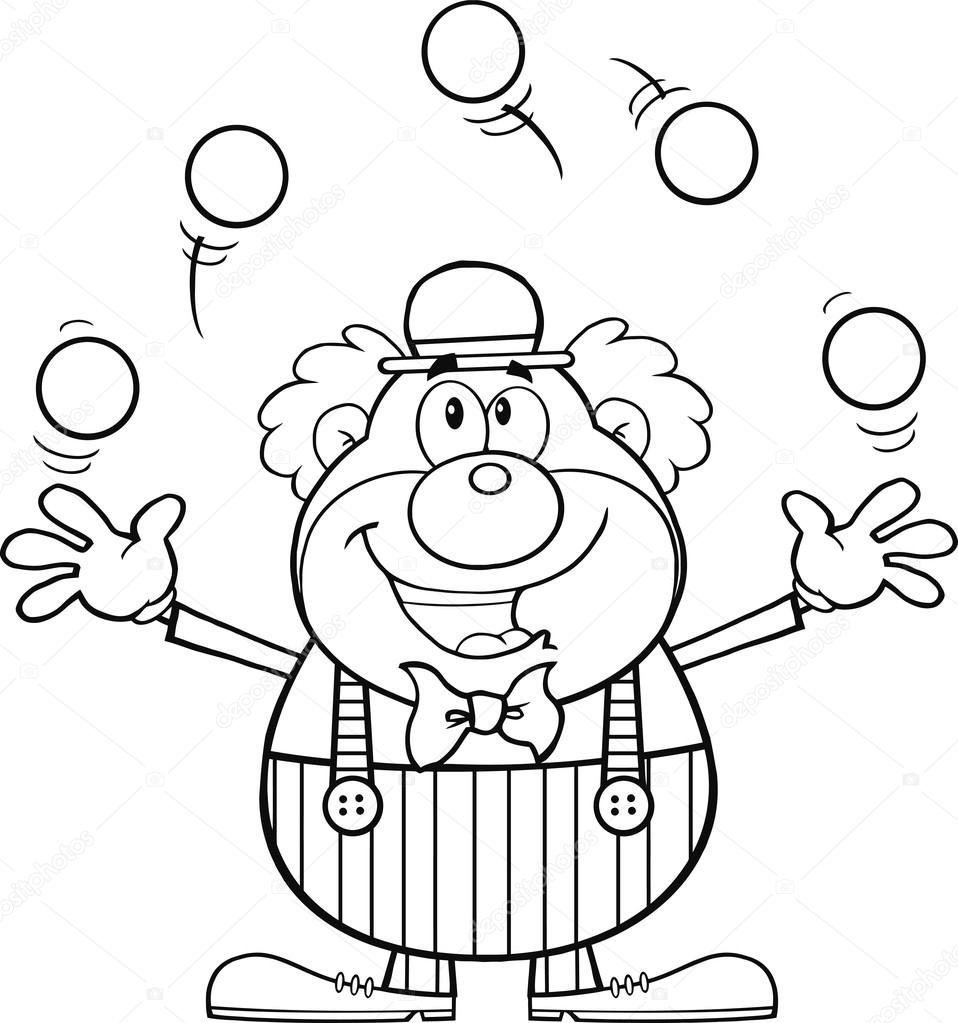 958x1023 Black And White Funny Clown Cartoon Character Juggling With Balls
