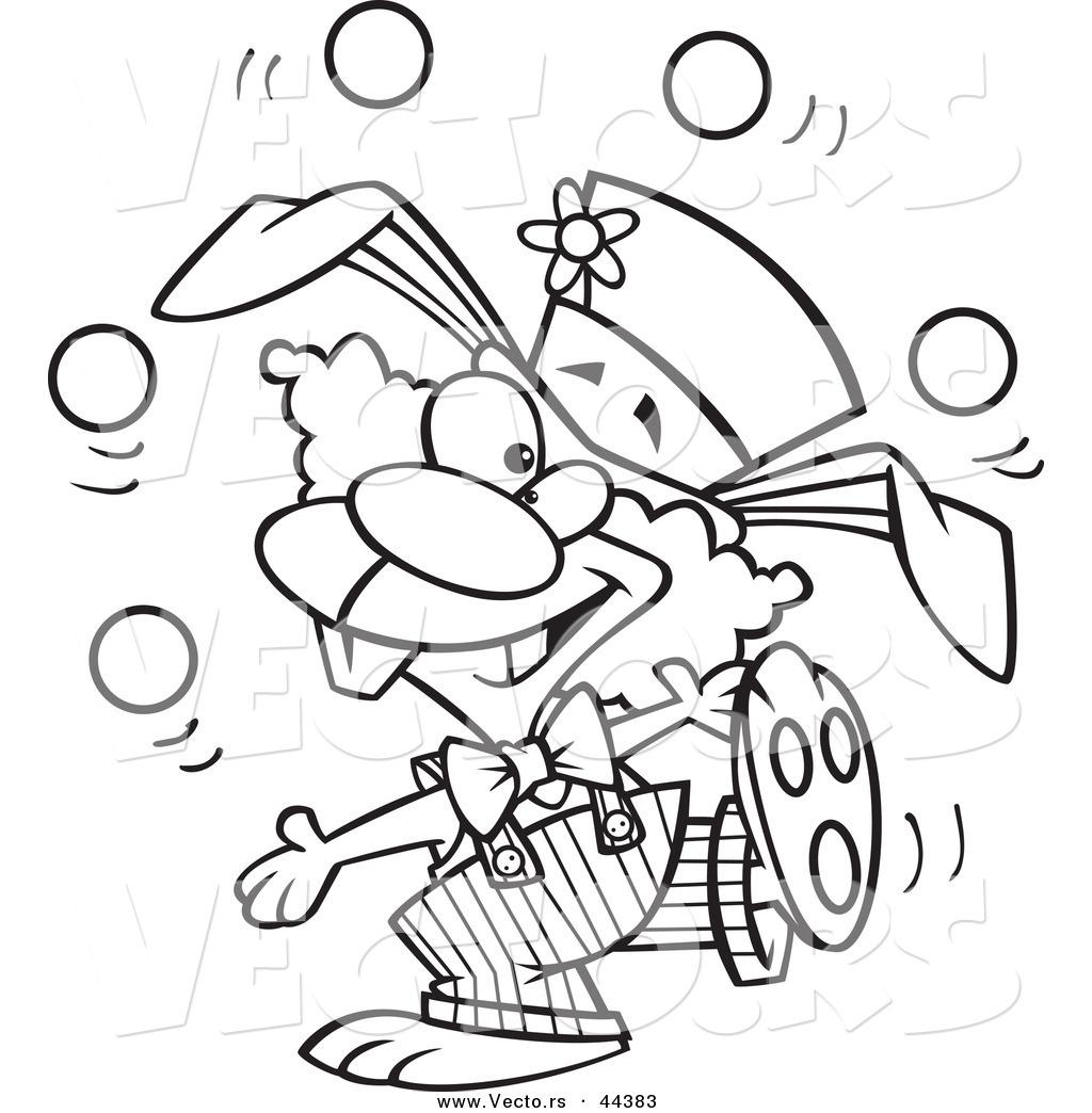 1024x1044 Vector Of A Talented Cartoon Bunny Clown Juggling