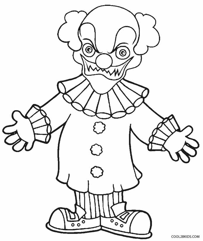 scary clown printable coloring pages | Clown Drawing Pictures at GetDrawings.com | Free for ...