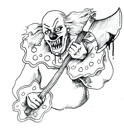 400x449 Evil Clown Coloring Pages Scary Clown Coloring Pages Scary Clown