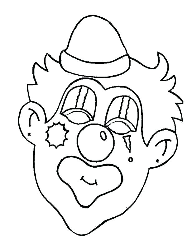 600x807 Clown Faces To Color Clown Coloring Pages Clown Playing