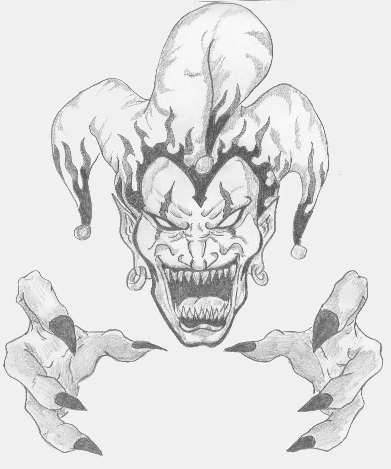 787x942 Drawings Of Evil Jesters Demon Jester Tattoo Design Crazy Evil