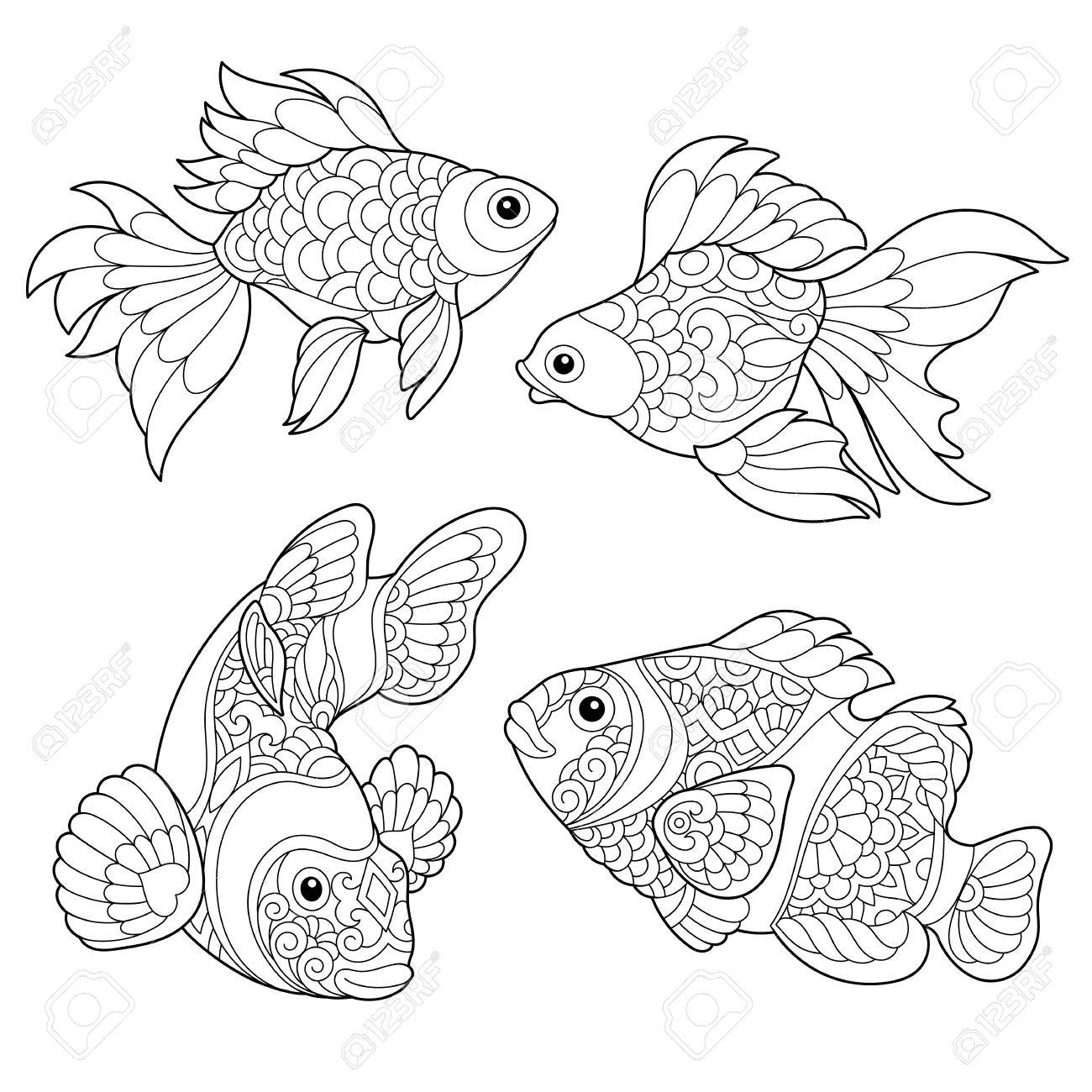 1300x1300 Coloring Page Of Goldfish And Clown Fish. Freehand Sketch Drawing