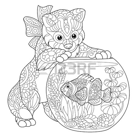 450x450 Coloring Page Of Kitten Playing With Clown Fish In Aquarium