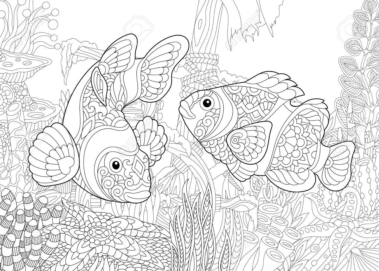 1300x928 Coloring Page Of Underwater World. Clown Fish On The Background
