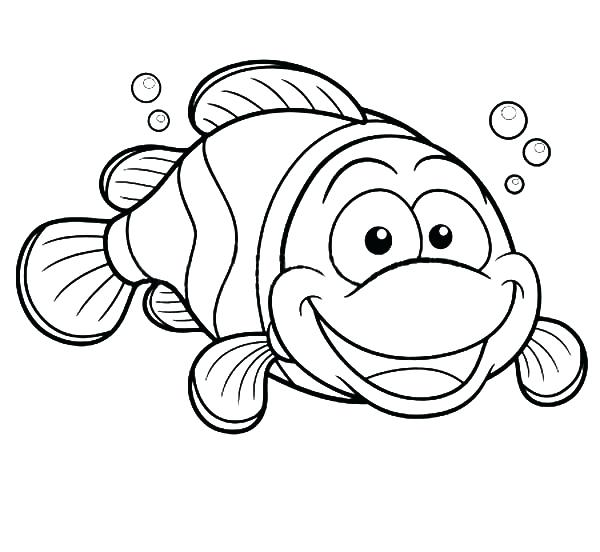 600x552 Fish Coloring Pages Happy Clown Fish Coloring Pages Fish Coloring