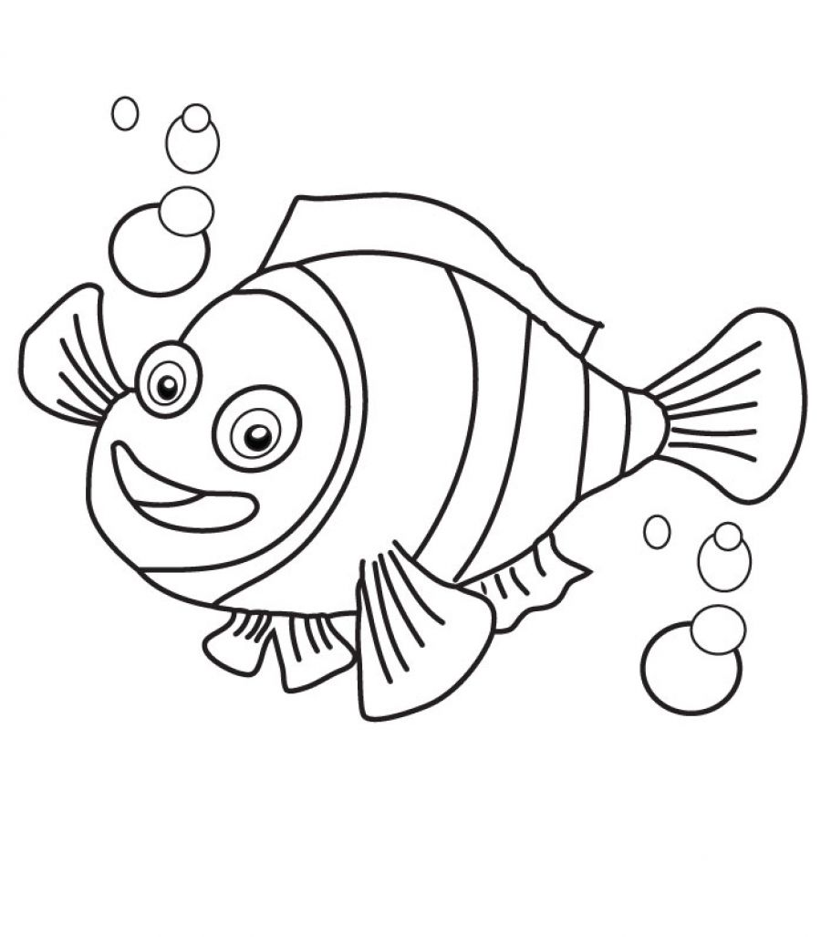 900x1027 Clown Fish Coloring Pages