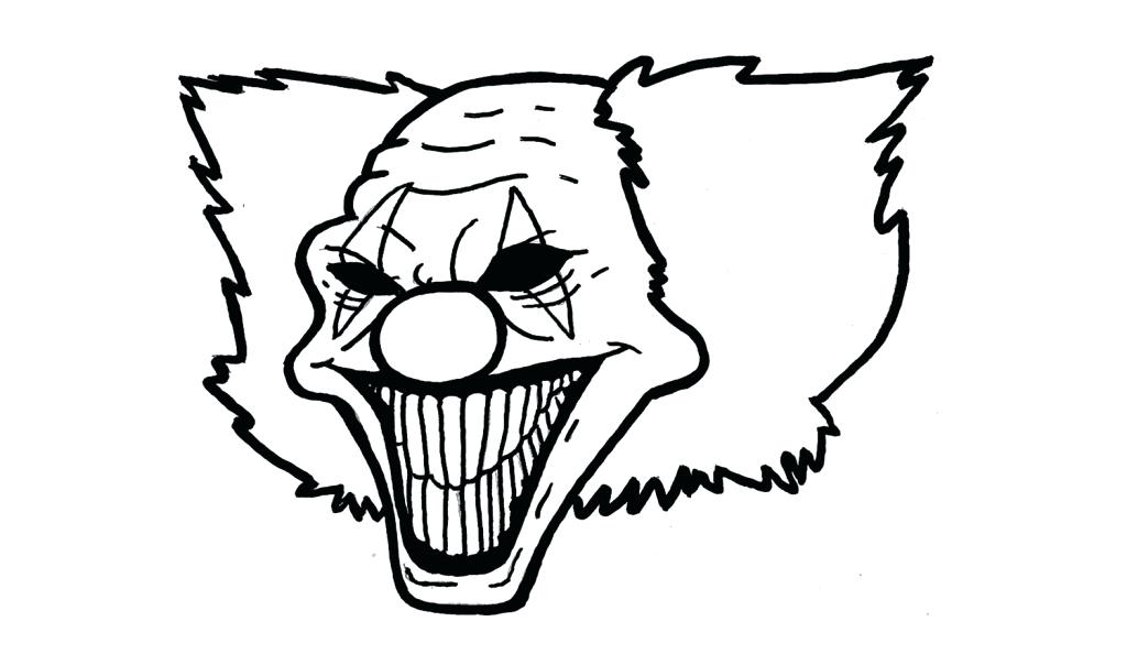 1024x604 Scary Clown Coloring Page Clown Drawing Free Coloring Pages Scary