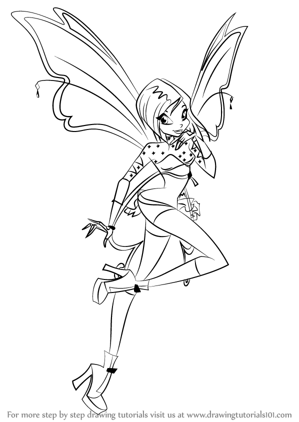 598x844 Learn How To Draw Tecna From Winx Club (Winx Club) Step By Step