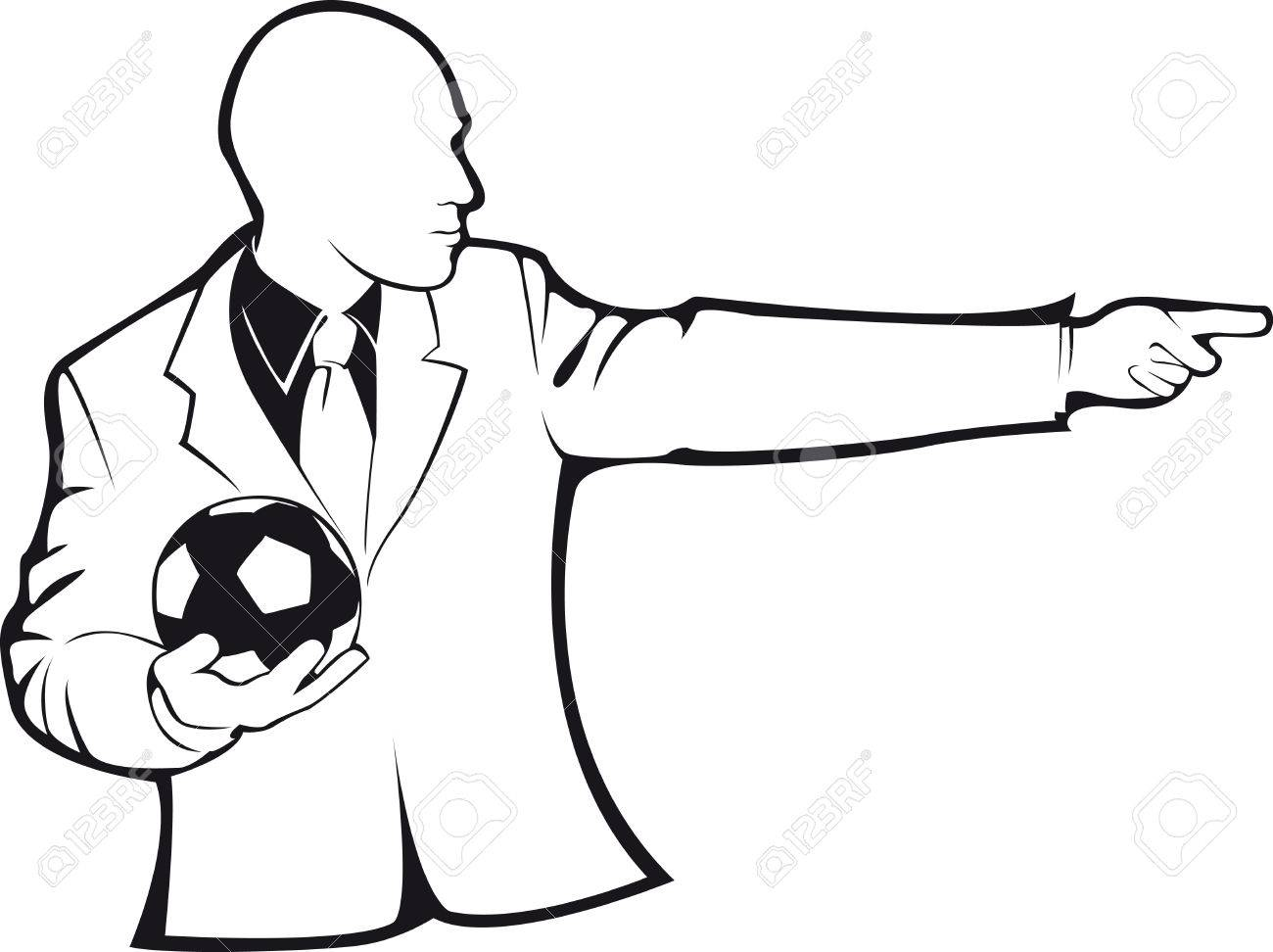 1300x972 Coach With A Soccer Ball. Vector Contour On White Royalty Free