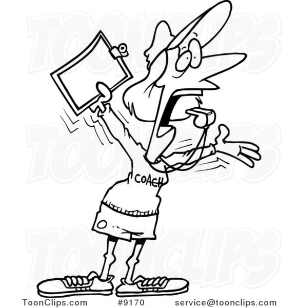 581x600 Cartoon Black And White Line Drawing Of A Female Coach Screaming
