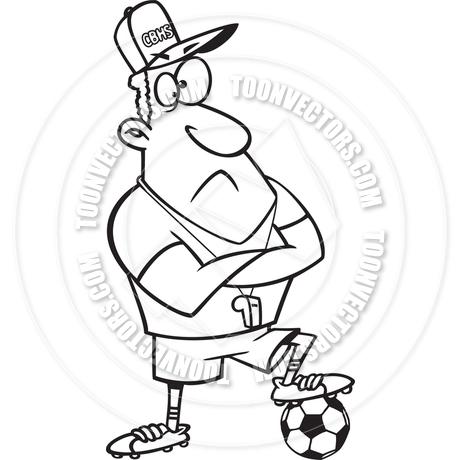 460x460 Cartoon Soccer Coach (Black And White Line Art) By Ron Leishman