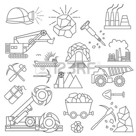 450x450 Coal Mining Icon Set. Thin Line Icon Design. Vector Illustration