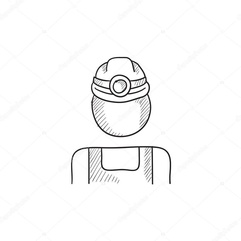 1024x1024 Coal Miner Sketch Icon. Stock Vector Rastudio