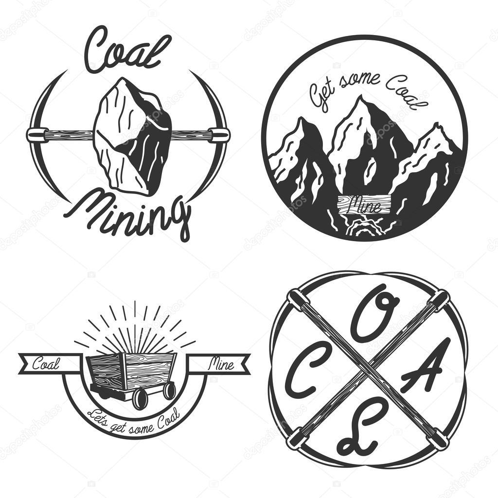 1024x1024 Vintage Coal Mining Emblems Stock Vector Netkoff
