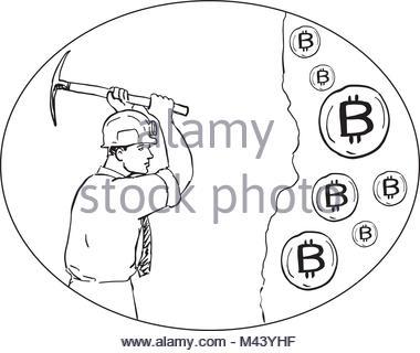 380x320 Drawing Worker Mining Pick Axe Helmet Figure Pictogram Vector
