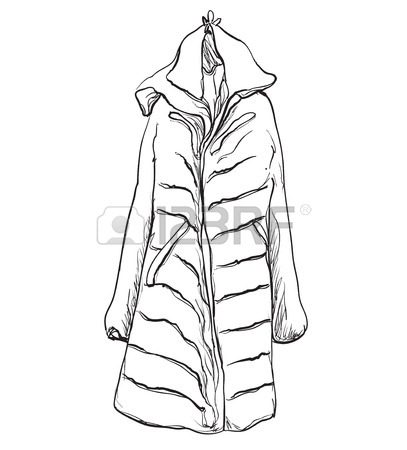 407x450 Hand Drawn Illustration Sketch. Fashionable Clothes On Hangers