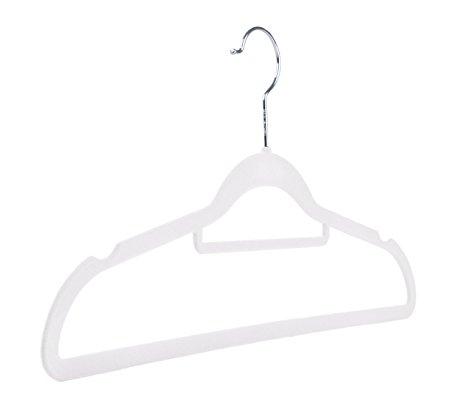 450x412 60 White Non Slip Flocked Velvet Space Saving Coat Hangers