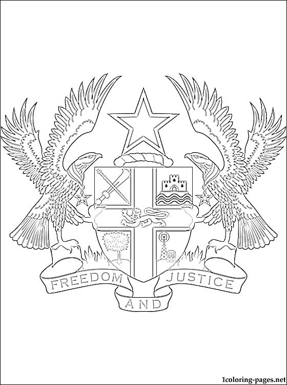 560x750 Ghana Coat Of Arms Coloring Page Coloring Pages