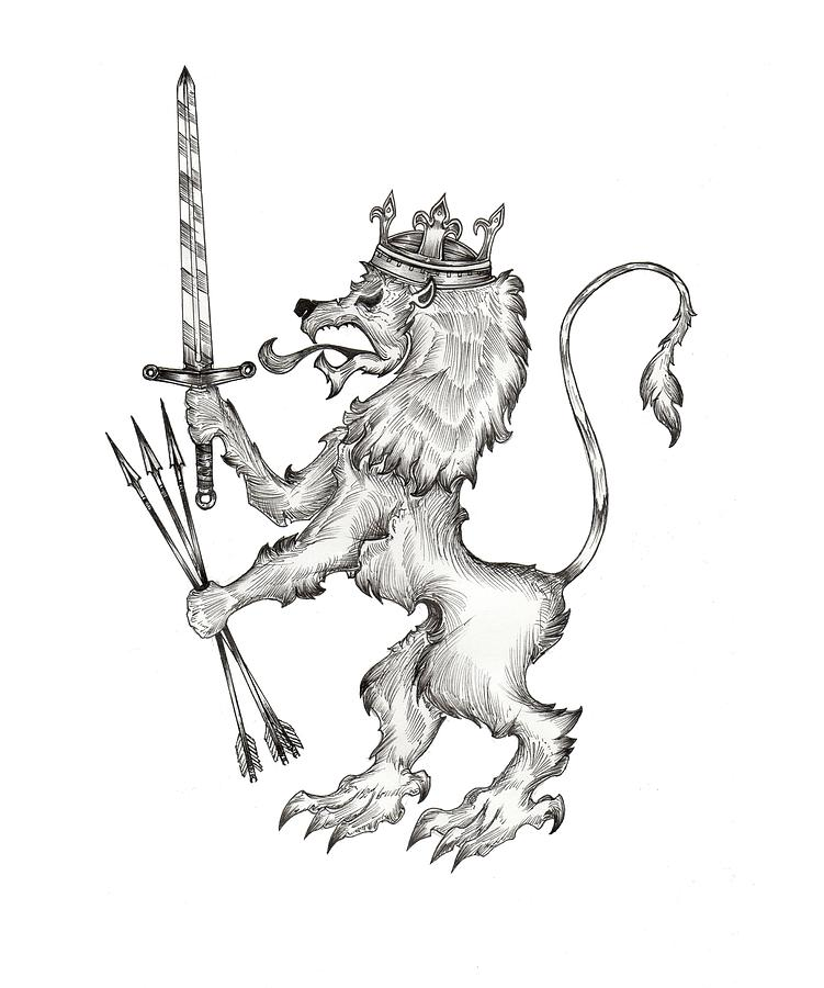 751x900 Lion Coat Of Arms Drawing By Nikolaos Chantzis