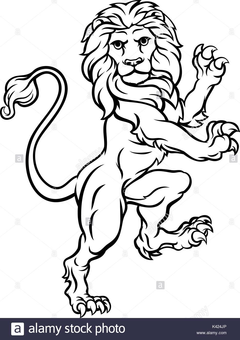 983x1390 Lion Rampant Heraldic Crest Coat Of Arms Stock Vector Art