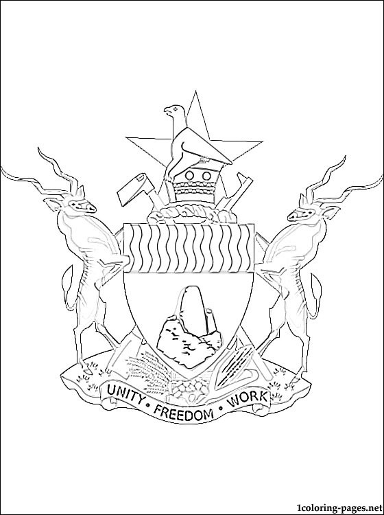 560x750 Zimbabwe Coat Of Arms Coloring Page Coloring Pages