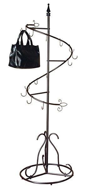 281x606 Sunrise Purse Handbag Metal Display Tree Stand Coat Rack, Brown