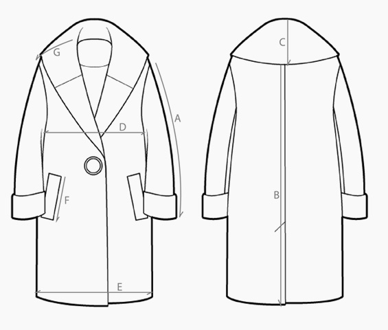 565x480 Oversized Coat Ashen Black Harris Tweed