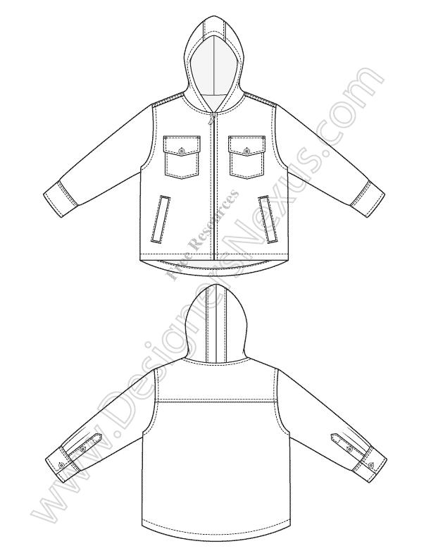 612x792 V33 Hooded Jacket Childrens Fashion Flat Sketch