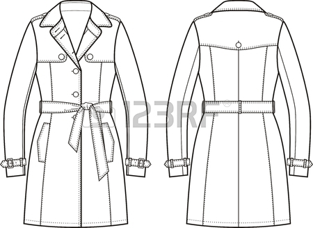450x328 Vector Illustration Of Women's Trench Coat. Front And Back Views