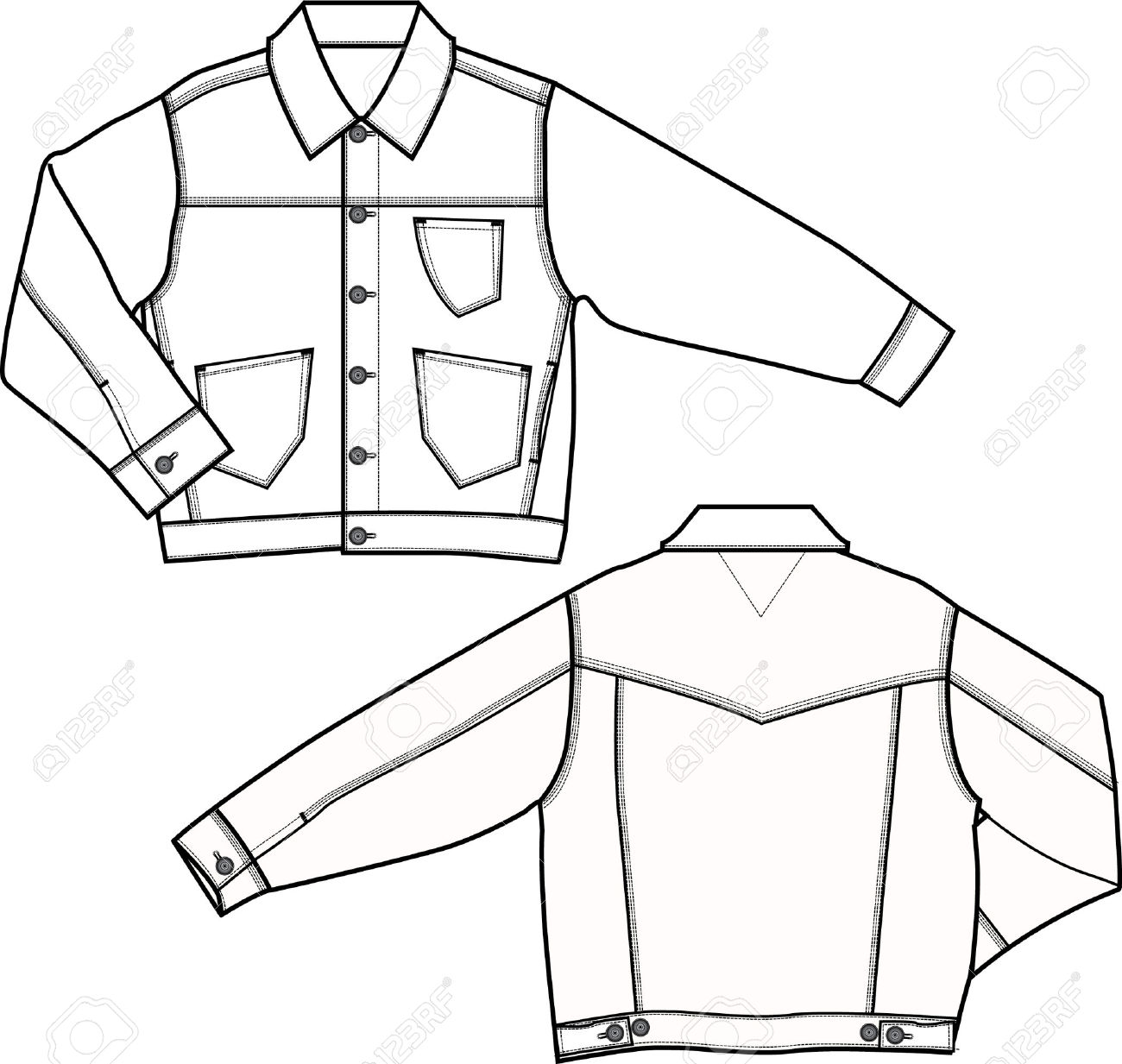 1300x1233 Jacket Technical Drawing