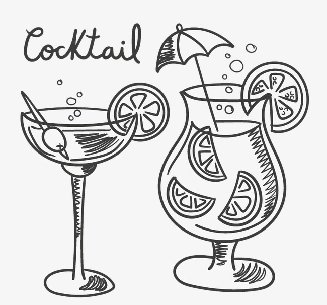 650x606 Hand Painted Cocktail, Hand Drawn Vector Material Cocktails, Hand