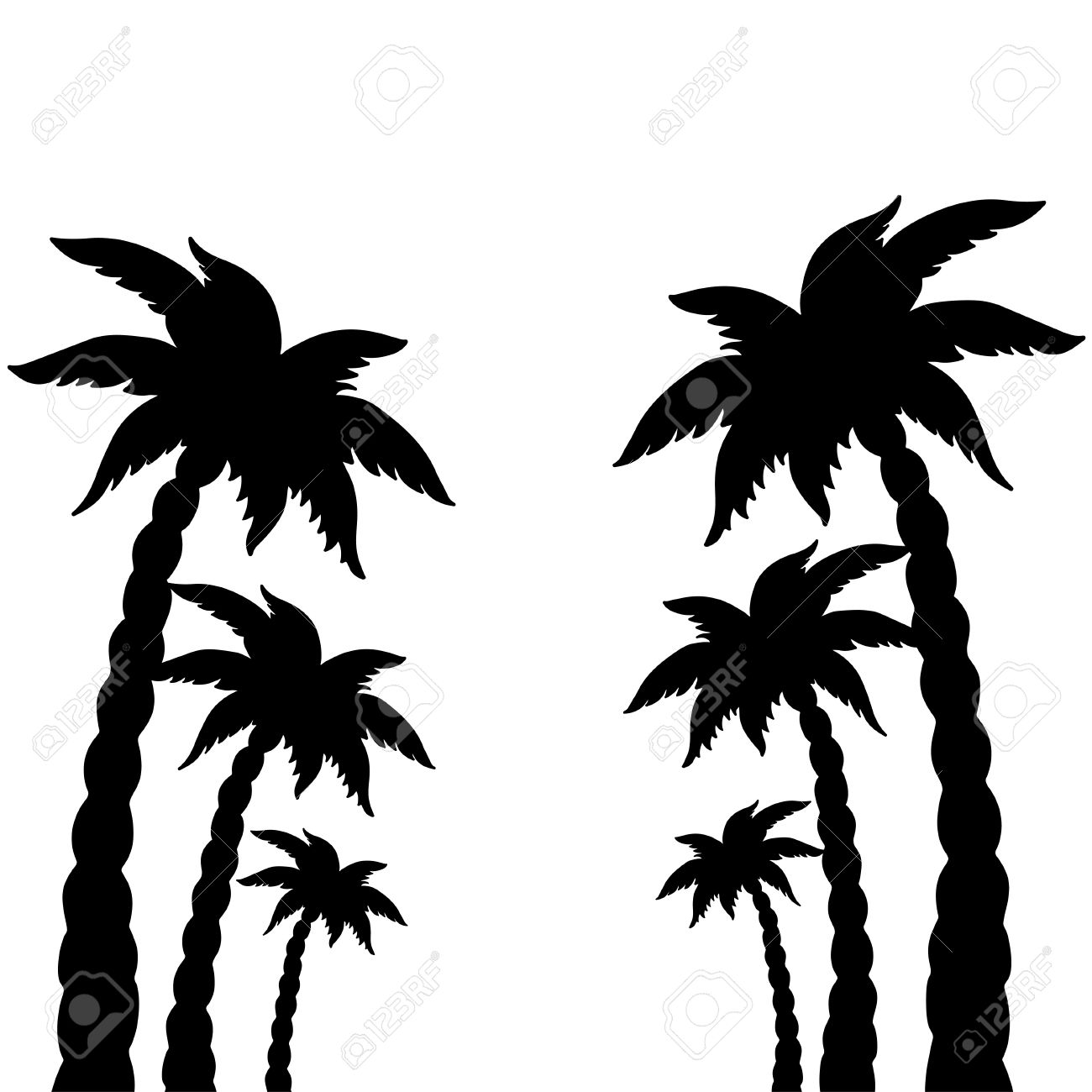 1300x1300 Set Coconut Palms Trees Silhouettes Isolated On White Background
